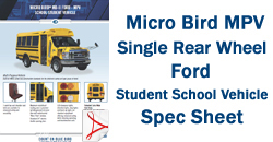 Micro Bird MPV Single Rear Wheel GM Student School Vehicle Spec Sheet
